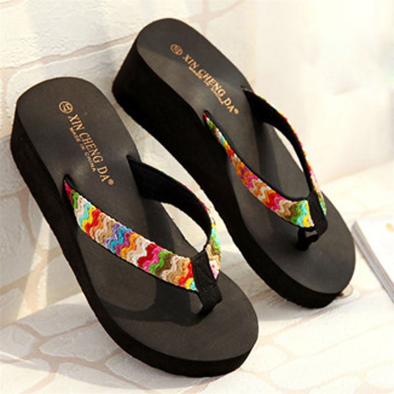 Summer Women Slippers Bohemia Beach Sandals Wedge Platform Thongs Slippers Flip Flops Flip Flop Female Shoes Sandalia Size36-39 casual bohemia women platform sandals fashion wedge gladiator sexy female sandals boho girls summer women shoes bt574