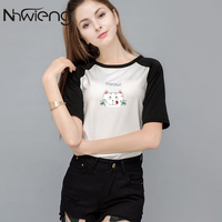 2017 Newest Women Femme T Shirt Letter Printing Meow Kawaii Cute Cat Casual Summer Mujer Femme