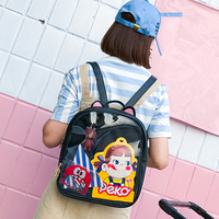 Lovely Cat Ear Leather Backpacks Candy Color Transparent Bag Women Shoulder Bags School Teenage Girls Travel