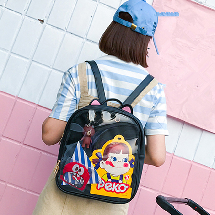 Lovely Cat Ear Leather Ryggsäckar Candy Color Transparent Bag Barn Axelväskor Skola Teenage Girls Resor Bagpack Itabag