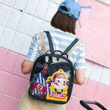 素敵な猫耳革バックパックキャンディーカラー透明バッグ子供ショルダーバッグスクール代旅行bagpack itabag