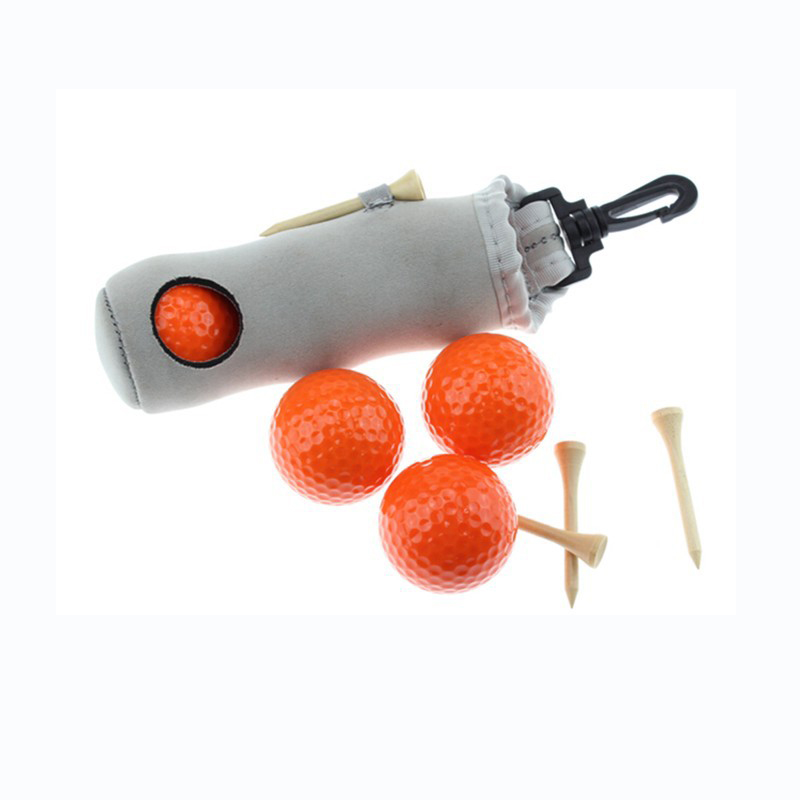 500 Sets/lot Super Elastic Neoprence Mini Golf Ball Holder Bag With Hook With 3 Golf Balls & 3 Golf Tees Golf Tool Bag