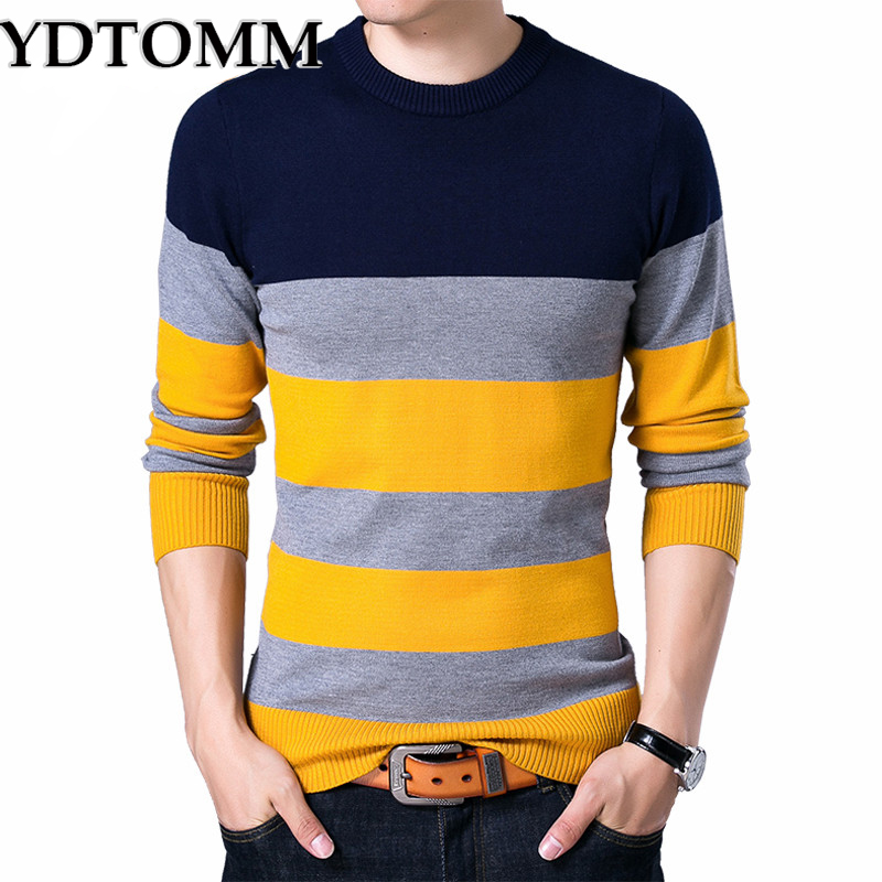 YDTOMM Pullover Male New Fashion Red Black Striped Sweater 2017 Spring Autumn O-neck Men Wool Sweaters Slimfit Shirt