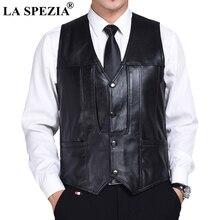 LA SPEZIA Men Waistcoat Black Genuine Sheepskin Leather Casual Gentleman Vest Male Slim Fit Luxury Business Sleeveless Jacket