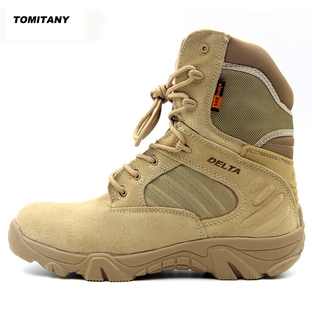 Outdoor Hiking Tactical Boots Leather High Top Military Climbing Camping Boot Man Hunting Trekking Sneaker Sport Shoes Men