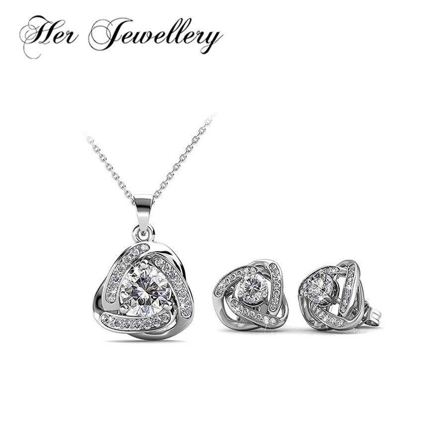 Son ensemble de bijoux géométriques bijoux de luxe pour femmes avec des cristaux de Swarovski HS081