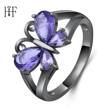 Elegant Butterfly Shape Purple Zircon Rings For Women Girl Black Gold Filled Wedding Party Engagement Promise Ring Bijoux 4Types(China)