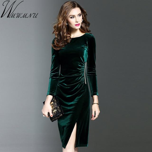Wmwmnu 2017 Womens Autumn Long Sleeves velvet dress Slim Wear To Work Office Business dresses Casual Sheath Pencil party Dress