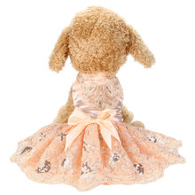 Spring Summer Dog Dress Sequins Lace Embroidered Princess Dog Dresses Pet Clothes For Small Medium Dogs