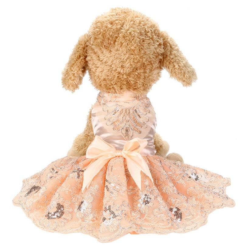Spring Summer Dog Dress Sequins Lace Embroidered Princess Dog Dresses font b Pet b font Clothes