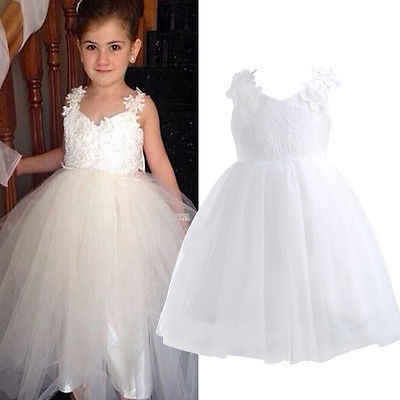 Flower Girl Kid Princess Party Tutu Dress Wedding Bridesmaid Formal Prom Dresses