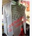По требованиям заказчика приталенный официальный платье мужчины белый костюмы вручную рабочий шов сверление хозяин певица костюмы ( куртка + брюки ) / M-XXL