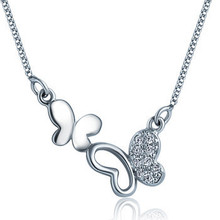 100% 925 sterling silver necklaces pendants beautiful butterfly silver necklace for ladies high-quality!! Christmas Present