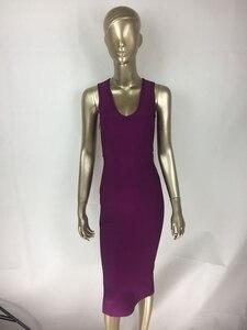 Image 3 - משלוח חינם למעלה איכות סקסית V צוואר כפתור פיצול שחור סגול תחבושת שמלת 2020 סרוג אלסטי אלגנטי ערב מסיבת שמלה