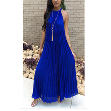 Blue Chiffon Floor Length Women's Dress Loosen Long Dress Summer Dress Splicing Round Neck Dew Shoulder Sleeveless Party Dresses