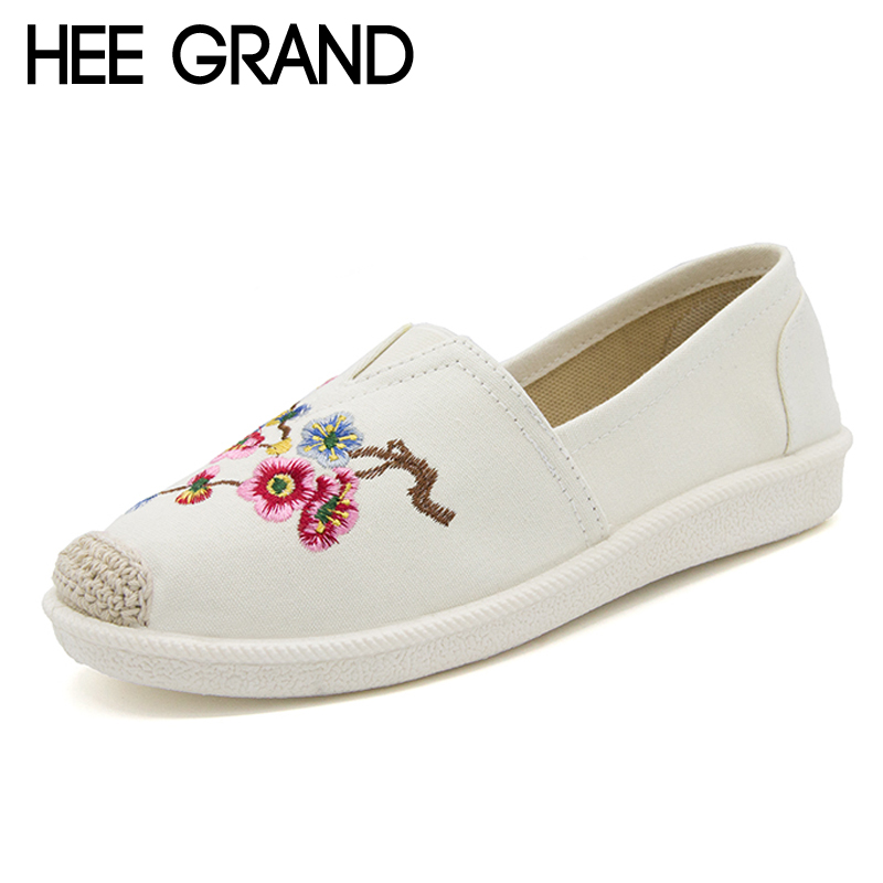 HEE GRAND Hemp Loafers 2018 Embroider Fisherman Shoes Woman Straw Slip On Casual Flats Platform Women Shoes size 35-41 XWD6317 siketu sweet bowknot flat shoes soft bottom casual shallow mouth purple pink suede flats slip on loafers for women size 35 40