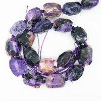 LiiJi Unique Natural Charoite Big Irregular Shape Faceted bead 12x17mm 12x20mm DIY Jewelry Making Approx 39cm
