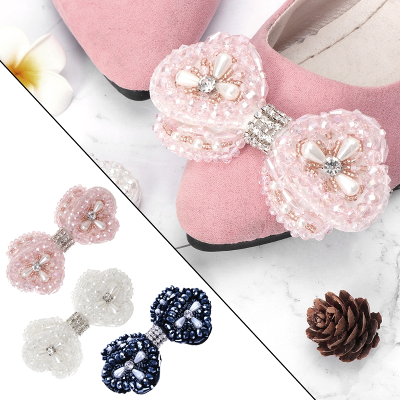 все цены на EYKOSI Shoe Decoration Rhinestone Bowknot Fashion Elegant Charms DIY High Heels Shoe Accessories Clips for Women Girl онлайн