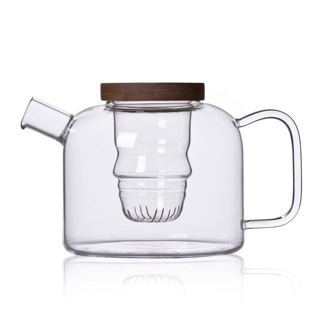 750ml Clear Glass Heat Resistant Tea Maker Kettle Teapot with Bamboo Lid