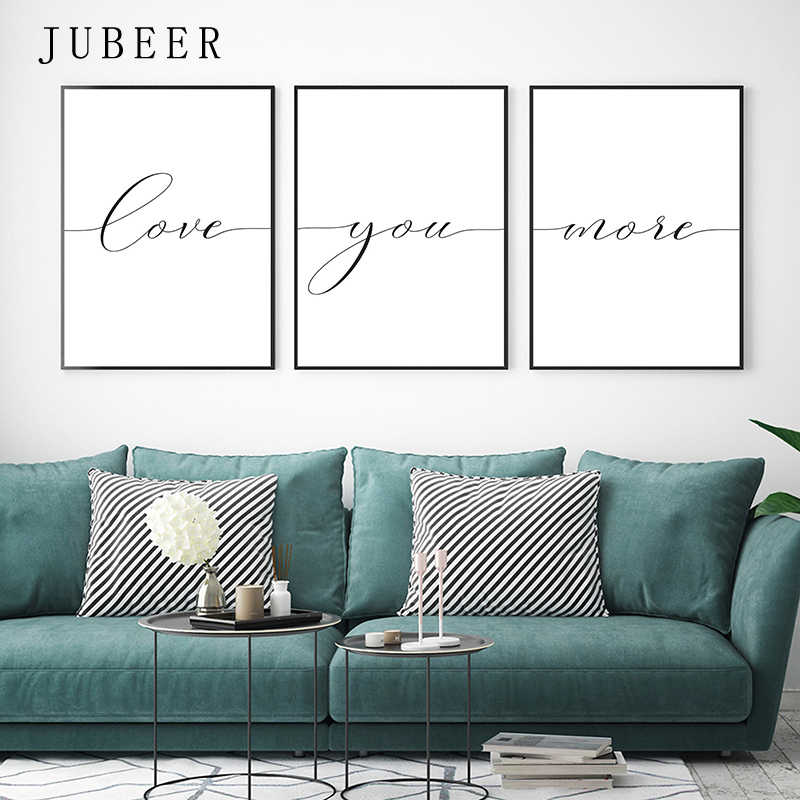 Love You More Canvas Painting Lovely Words Wedding Gift Set Of 3 Prints Bedroom Wall Art Love Quote Sign Nordic Decoration Home