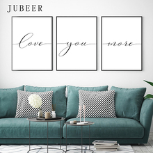 Love You More Canvas Painting Lovely Words Wedding Gift Set Of 3 Prints Bedroom Wall Art Quote Sign Nordic Decoration Home