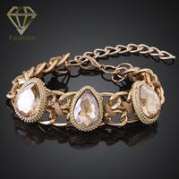 Christmas Gift Beautiful Style Jewelry Water Drop Crystal Stones Gold Color Link Chain Wide Bracelets for Women