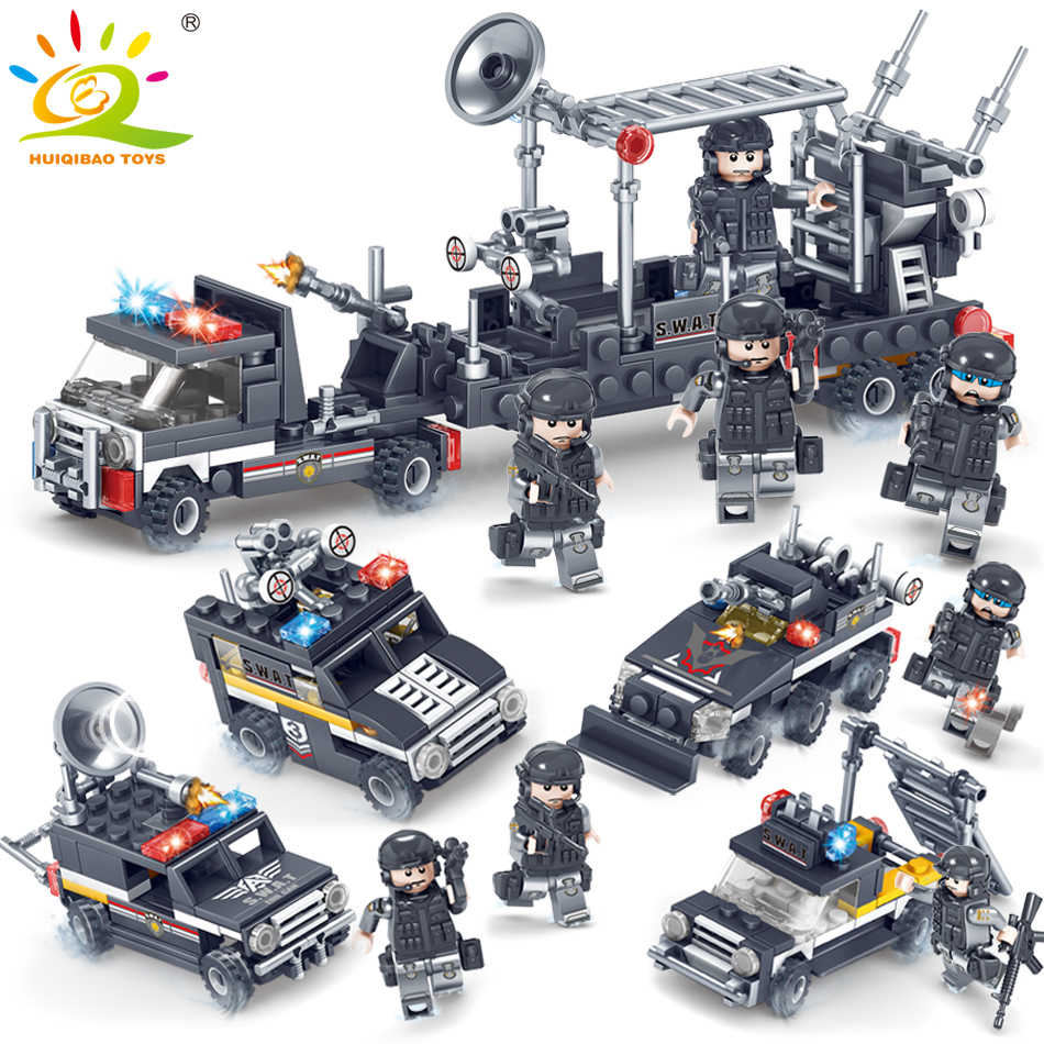 Military SWAT Police Radar truck soldier Building Blocks Compatible legoed army weapon Figures Enlighten Bricks Toy for Children military swat team city police armed