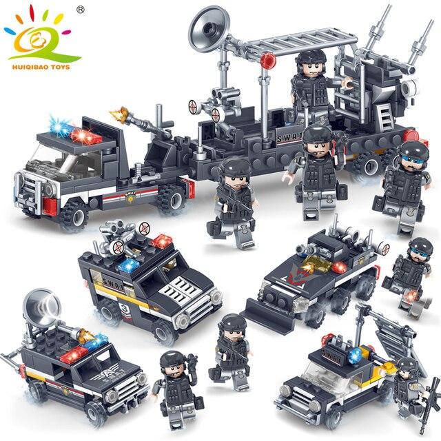 SWAT Militer Radar Polisi Truk Tentara Blok Bangunan Legorreta Tentara Angka Kendaraan Mencerahkan Diy Batu Bata Mainan untuk Anak