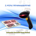 Free Shipping!Auto Sense + Wireless Barcode Scanner Bar Code Reader 2.4G 10m Laser Barcode Scanner Wireless/Wired For Windows