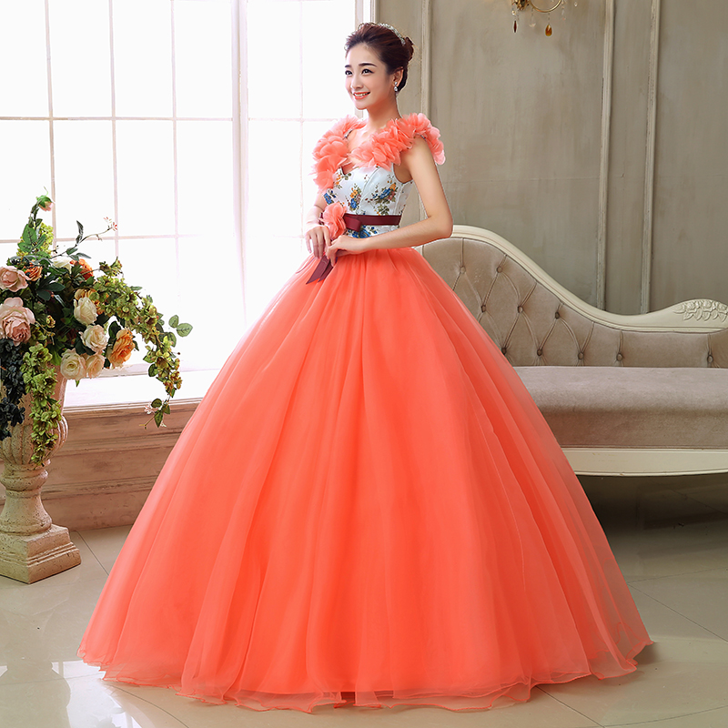 New Fashioned Ball Gowns V Neck Girls Party Gowns Tulle Lace Beaded Orange Quinceanera Dresses Vestido de debutante-in Quinceanera Dresses from Weddings & Events    2