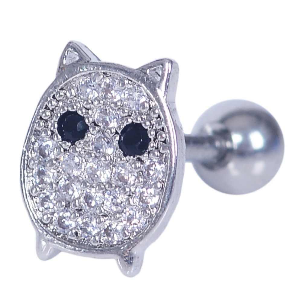 1 חתיכה 16G נירוסטה נוצץ ריינסטון לב ארנב ירח חתול כוכב פלאש אוזן תקעים עגיל הרבעה פירסינג גוף תכשיטים