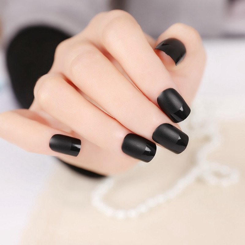 New Matte Black Fake Nails Design French With Free Glue Box Nail