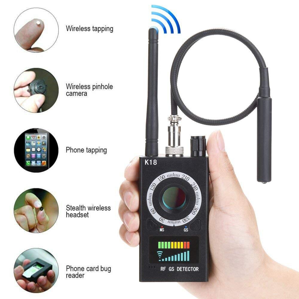 K18 multi-fonction Anti-espion détecteur caméra GSM Audio Bug Finder GPS Signal lentille RF Tracker détecter les produits sans fil 1 MHz-6.5 GHz