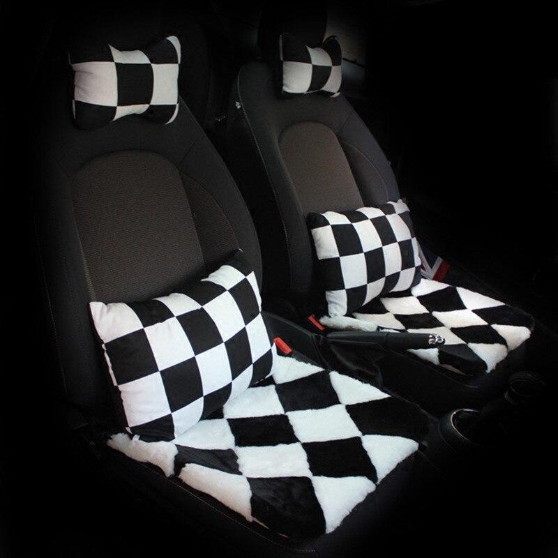 Зима плюшевые автокресло руль охватывает поясничная поддержка набор для Mini Cooper Clubman земляк