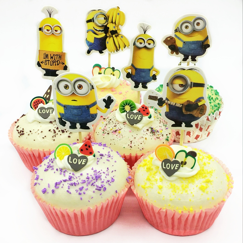 Event & Party Fast Deliver 48pcs Cute Big Eyes Minions Dad Baby Cupcake Toppers Pick Kids Birthday Party Cake Decoration Baby Shower Event Favor Supplies Sale Price Home & Garden