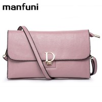 MANFUNI Genuine Leather Women Bags Designer Envelope Wristlet Handbag Female Small Mini Crossbody Bags Handbags Famous