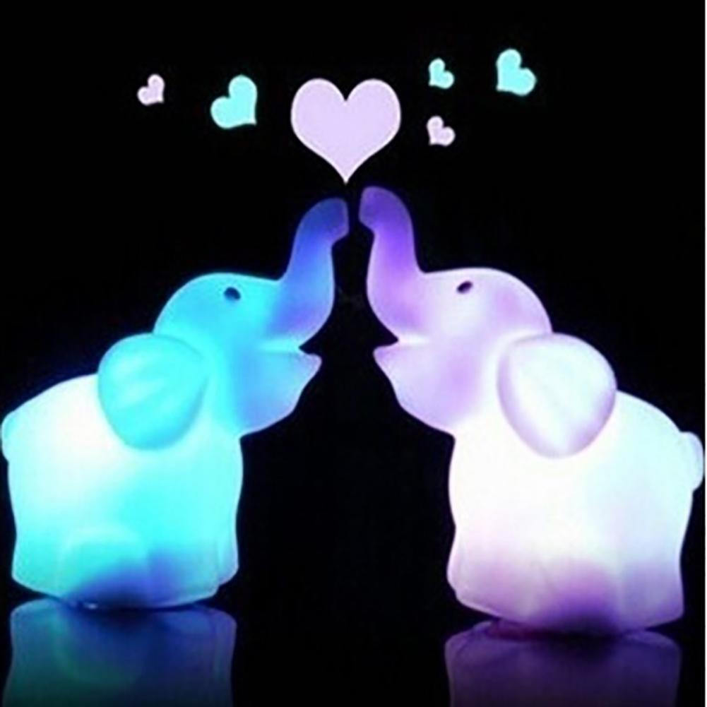 Lovely Elephant 7 Changing Colors On/Off Switch LED Night Light Children Gift Hot