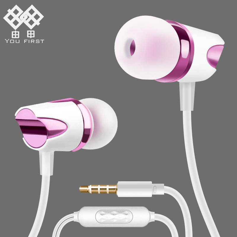 YOU FIRST 2 Pieces Wired Earphone 3.5mm Headphones With Microphone In Ear Aux Plating Handsfree Ecouteur For iPhone Xiaomi