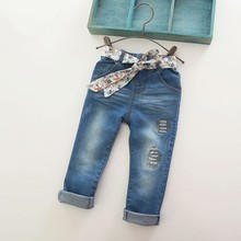 Girls Flower Belt Skinny Denim Jeans Kids Fashion Distressed Jeans Children Casual Long Pants Girl Spring Full Clothes