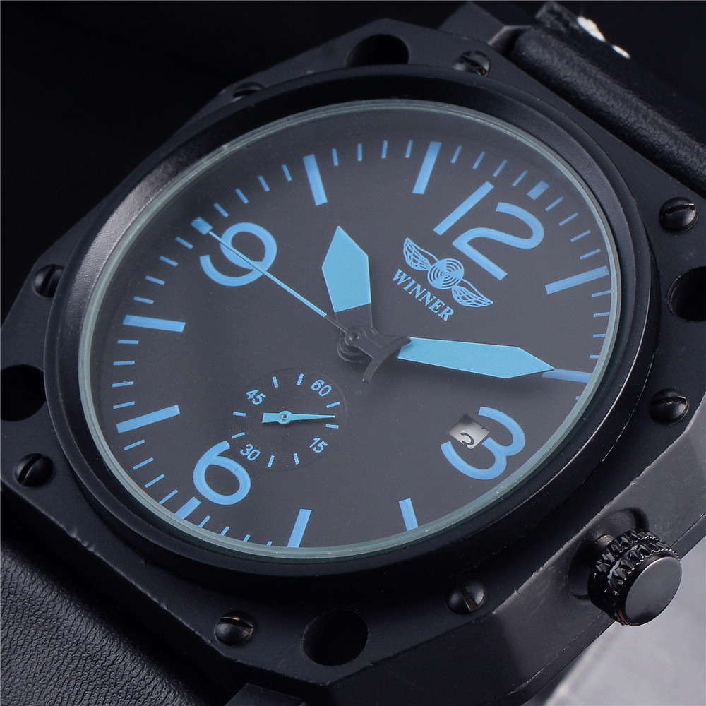 2016 Top Luxury Brand Winner Watch Men Automatic Mechanical Leather Strap Date Calendar Sports Male Wristwatch Relogio Masculino 2016 luxury wristwatch black leather belt male automatic watch men s sports watch black face
