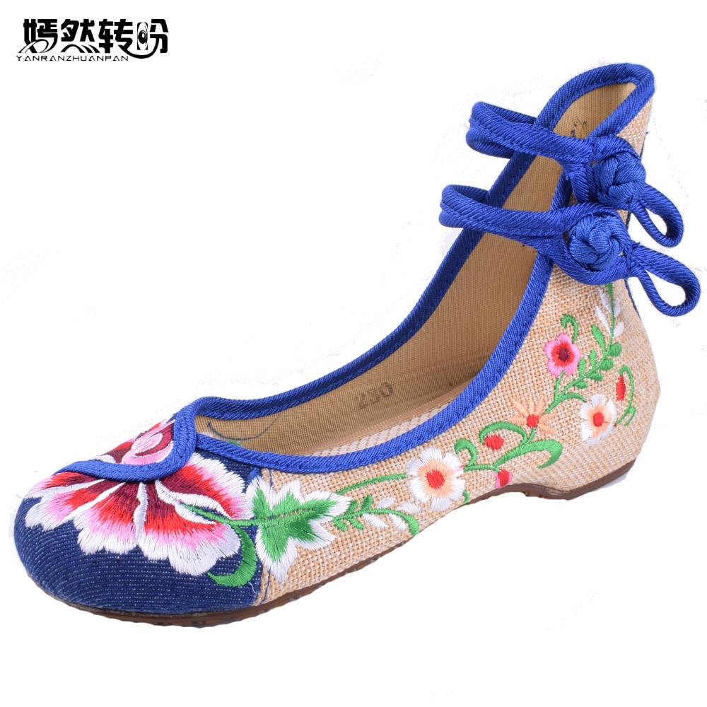 Vintage Women Flats Old Peking Soft Canvas Chinese Flat Heel Flower Embroidered Dance Ballet Shoes Woman peacock embroidery women shoes old peking mary jane flat heel denim flats soft sole women dance casual shoes height increase