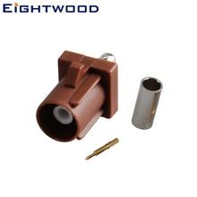 Eightwood TV2 коннектор Fakra SMB код F Штекер РЧ коаксиальный разъем коричневый/8011 обжимной для LMR-100 RG174 RG316 кабель адаптер