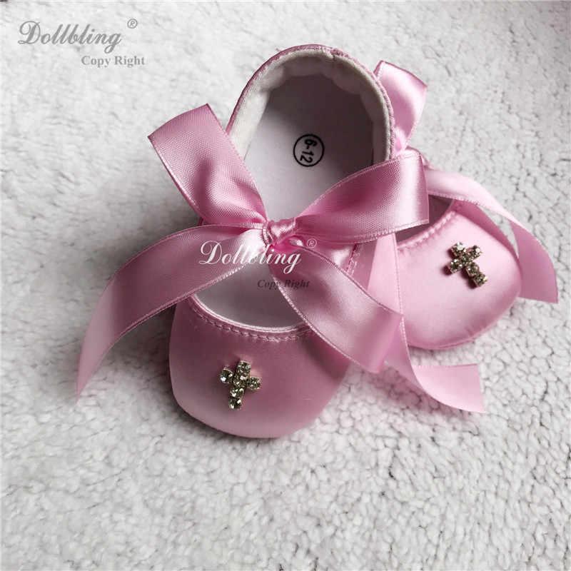 Dollbling Rhinstones распятие Свадебный Цветочный для девочек ослепительный великолепный атласный Модный на заказ крестины завтрака в Etsy детская обувь