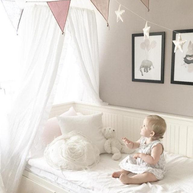 Weiß Grau Rosa Beige Jungen Mädchen Kinder Prinzessin Baldachin Bett Volant  Kinder Zimmer Dekoration Baby Bett Runde Moskito Net Zelt Vorhänge