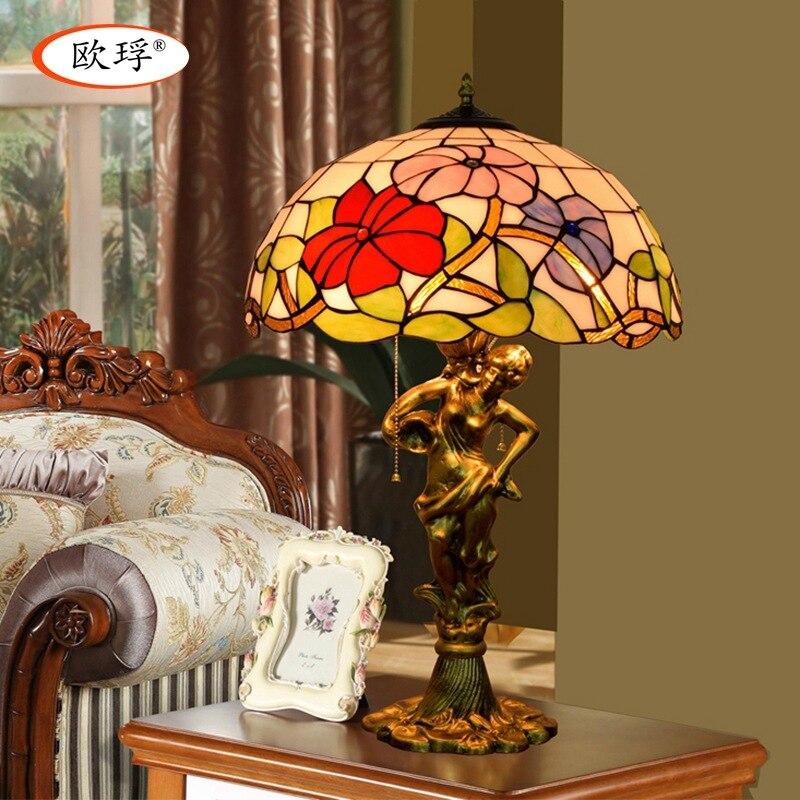 Американский Пастырское витражи Тиффани настольная лампа гостиная спальня ночники 40 см