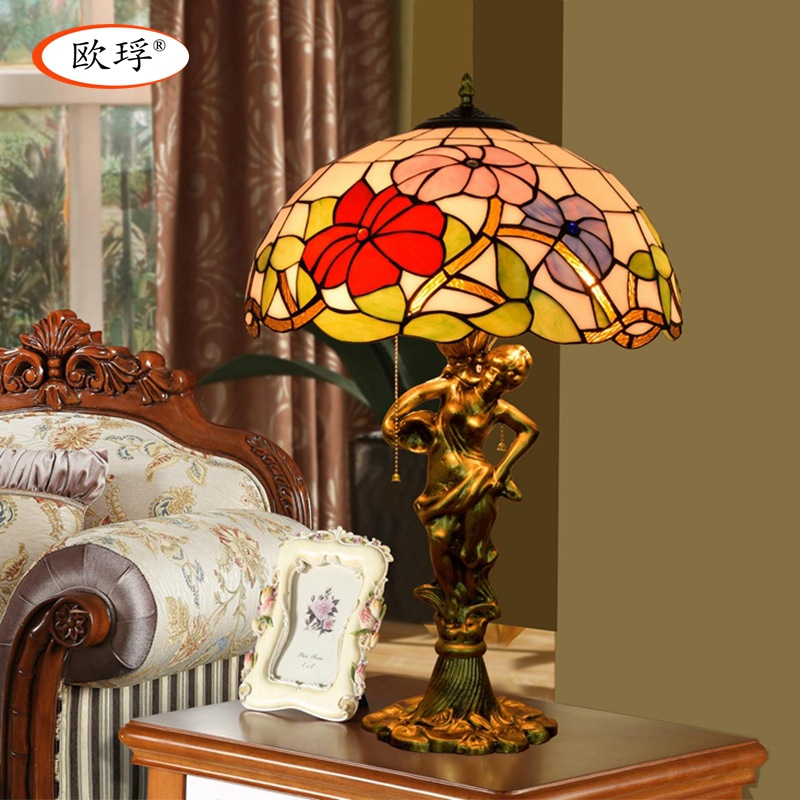 American Pastoral Tiffany stained glass table lamp living room bedroom bedside lamp 40CM