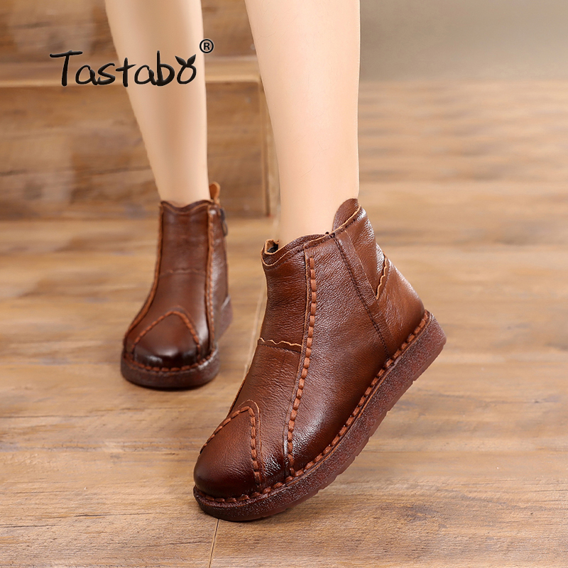 Tastabo Handmade Boots Women Genuine Leather Ankle Boots Artificial Velvet Handmade Lady soft Flat shoes Casual Women's shoes maylosa summer spring women boots with hole genuine leather feminina casual boots good quality handmade casual lady shoes