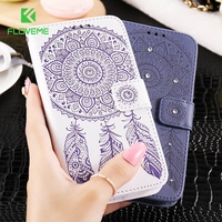 FLOVEME Leather Wallet Phone Case For IPhone 5S 5SE Luxury Bling Glitter Diamond Flower Cover Stand