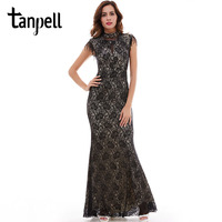 Tanpell Mermaid Evening Dress High Neck Beading Cap Sleeve Floor Length Dresses Women Party Noble Black