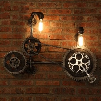 Loft Style Iron Water Pipe Lamp LED Edison Wall Sconce Wood Axle Gear Wall Light Fixtures Home Vintage Industrial Lighting 1